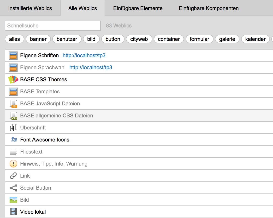 Die Weblics vom eingenen Downloadserver erscheinen in der Liste der zu installierenden Weblics